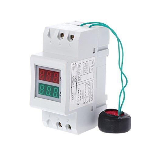 BIlinli 2P 36mm Carril DIN Doble LED Voltaje Medidor de Corriente Voltímetro Amperímetro AC 80-300V 250-450V 0-100A
