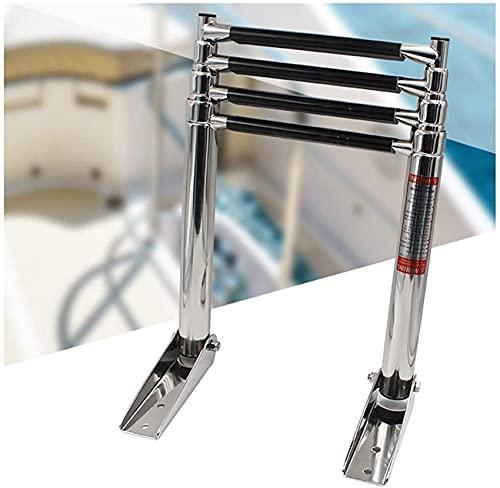 GXXDM 4-stufig klappbare Teleskop-Bootsleiter Edelstahl-Schwimmbadleiter mit Handläufen mit rutschfesten Querstreben Stark belastbar und platzsparend
