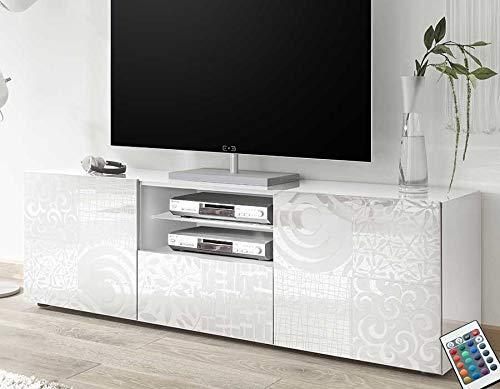 M-012 Grand Meuble TV Blanc laqué Design ELMA
