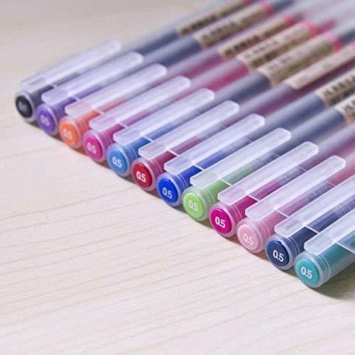 12 pcs/lot Stylo à encre gel 0,5 mm d'encre couleur Stylo à bille école Office Supply Muji Style 12 couleurs