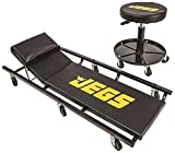 JEGS Creeper and Air Seat | Black with JEGS Logo | 350 LBS Creeper Capacity | 250 LBS Seat Capacity | Memory Foam Padding | Adjustable Height Air Seat