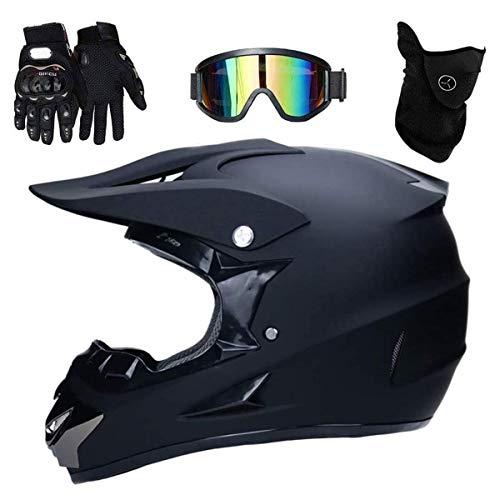 Carreras de Resistencia Motocross Casco Set con Gafas Máscara Guantes, Unisexo Cara...