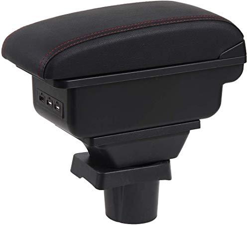 QWEAS Reposabrazos de Coche para Mini Cooper Coupe, Centro de Consola de Doble Capa, Caja de Almacenamiento Grande con 3 Puertos de Carga USB (Negro con Costuras Rojas)