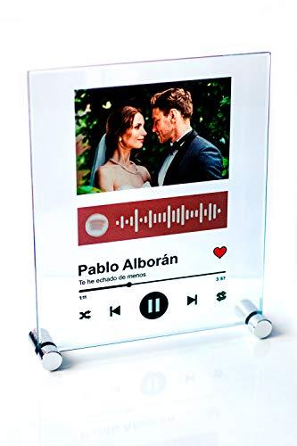 YOSTIC Cuadro en Cristal (No es plástico) Personalizado con canción y Foto. Regalo Original. Regala música de una Forma Nueva. Estuche DE Regalo (15x18cm)