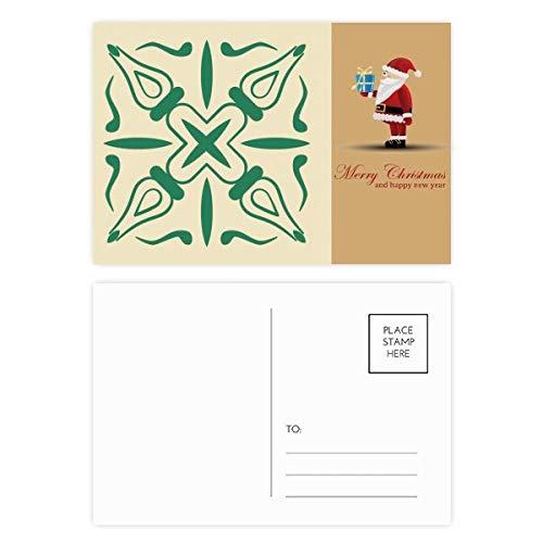 Talavera Deko-Postkarten-Set, Weihnachtsmann, Grün, 20 Stück