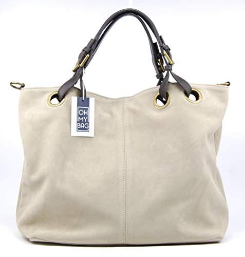 OH MY BAG - Bolso modelo Opera en piel auténtica, para mujer, elegante, talla única, (gris claro), Talla única