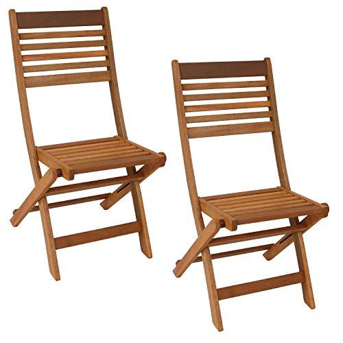 Sunnydaze Meranti Wood Outdoor Folding Patio Chairs