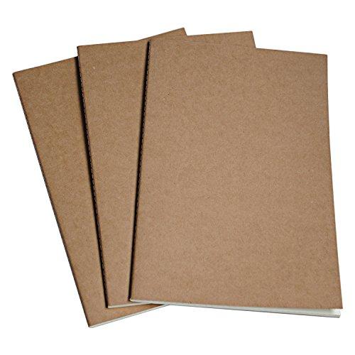 A5 Blanko Papier Notizbuch Nachfülleinlagen - 3er Set Notizbuch Einlageblätter für nachfüllbares Reisetagebuch aus Leder, Tagebücher oder Planer | A5 Notebook Refills | 21 cm x 14 cm