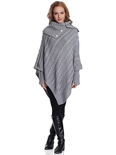 Merry Style Damen Poncho N4293(Grau, One Size)