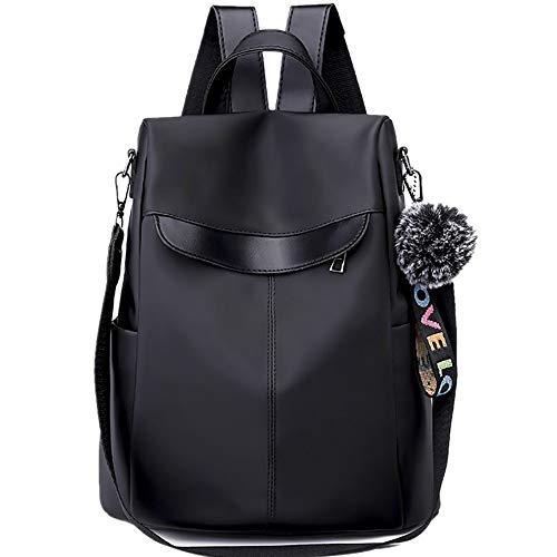 Rucksack Mädchen Damen, VECOLE Backpack Oxford Stoff Tasche Reiserucksack DREI Zwecke Mode Schultasche Campus Studententasche für Universität/Arbeit/Reise(Schwarz)
