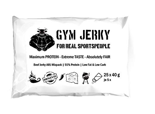 Gym Jerky Beef All5 Mixpack 5 je Sorte 1kg - 25x40g High Protein - Low Fat & Low Carb - Deutsches Premium-Rindfleisch Made in Germany