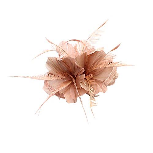 Sharplace Vintage Frau Feder Fascinator Haarspange Hochzeit Royal Ascot Rennen Halloween Party Kopfbedeckungen - Bare Pink