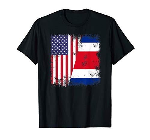 Half Costa Rican Flag | Vintage Costa Rica USA Gift T-Shirt
