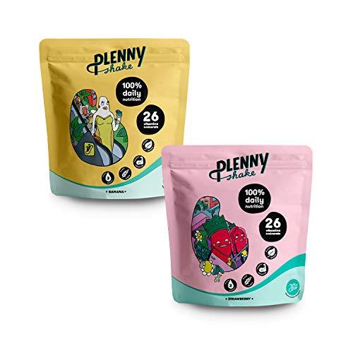 Jimmy Joy Fresa & Plátano Plenny Shake, 6 Bolsas x 4.000 kcal, Sustituto de Comida, Nutrición Completa, 26 Vitaminas y Minerales, 20gr Proteína, Vegano, Sin Lactosa, Sin OGM
