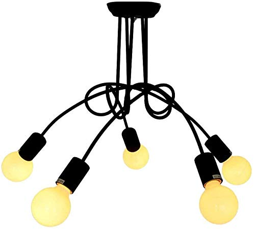 FHUA Lámpara de Techo Lámpara de Techo semiempotrada Estilo metálico Nudo de Corbata Industrial Retro Industrial con 6 Luces Negro
