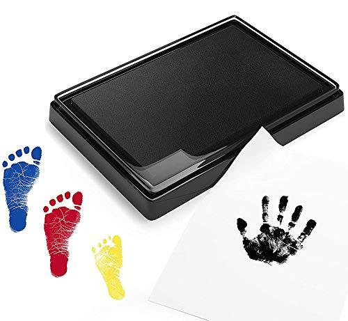 Endureal Baby Stempelkissen | Baby Fuß- oder Hand-Abdruckset Set in Vier Farben | Baby Handabdruck Hand | Fußabdruck-Set | für Babys ungefährlich – leicht abzuwaschen(schwarz + rot + blau + Gelb)
