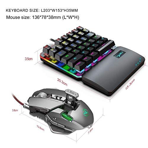Bradoner Einhändig Mechanical Gaming Keyboard Und Programmierbare Maus Kombiniert, USB Verdrahtete Spiel-Tastatur Und LED Backlit-Maus for LOL/PUBG/Wow/Dota/OW (Color : Gray)