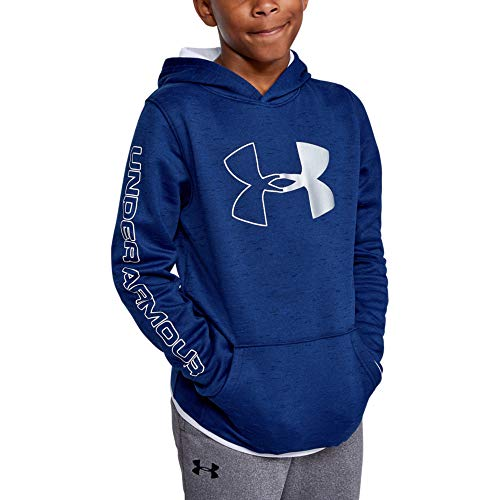 Under Armour Boys' Armour Fleece Hoody, Royal//White, Youth Large