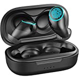 Wireless Earbuds, Bluetooth Earbuds with Wireless Charging Case Noise Cancelling with Microphone Stereo IPX7 Waterproof Wireless Headphones [USB-C Quick Charge] Black