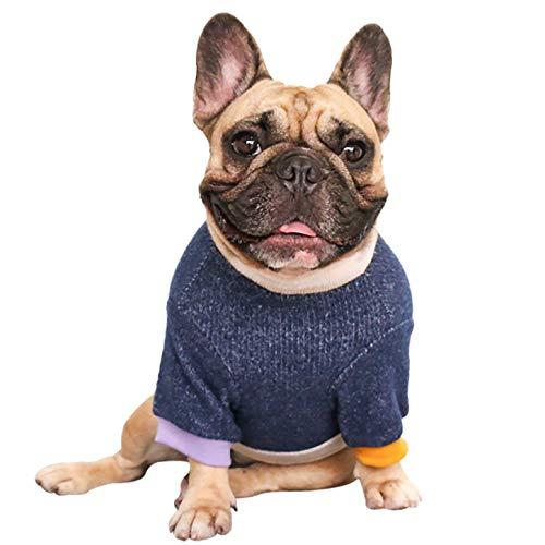 iChoue Hundepullover mit Rundhalsausschnitt und Farbblock, warme Winterkleidung für Französische Bulldogge, Mops, Boston Terrier, Marineblau und Beige/L