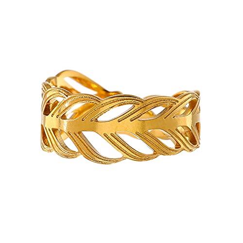 Charm Hoja de acero inoxidable Anillo abierto 18 K Metal Color dorado Textura Joyas para mujer Moda