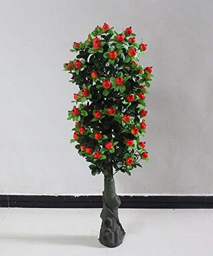 GETSO Innen künstlichen Pflanzen 140 cm Goldorange Apfelbaum ohne Topf Wohnzimmerdekoration Plastikpflanzen Zimmerpflanzen Bonsai: 1.4m