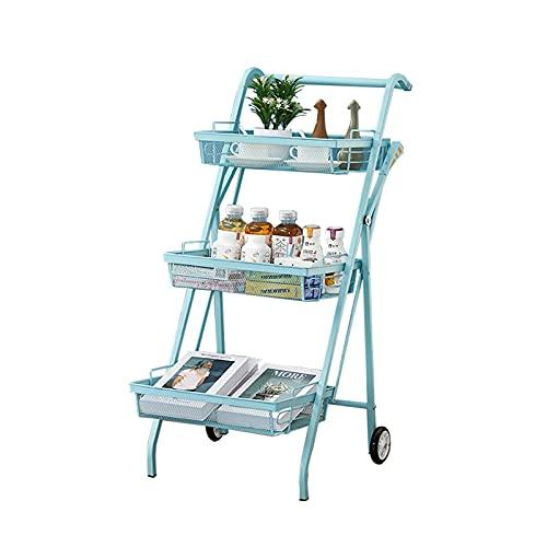 Carreras De Cocina Enrollables (azul) Con Cesta Transpirable Extraíble, Estantes De Almacenamiento De Metales De 3 Niveles Microondas Para Horno De Microondas Para Baño, Dormit(Size:3-Tier,Color:Azul)