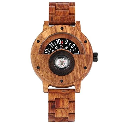 Einzigartiges Kompass-Plattenspieler-Design Holzuhr Kreative Halbkreiszifferblattuhr Herren Sandelholz Armreif Retro Uhr Luxus, Zebra Wood