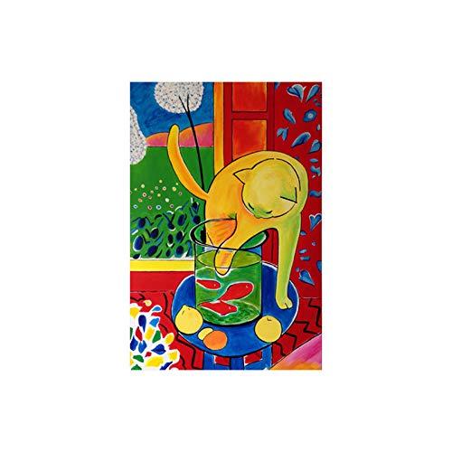 Abstracto Gato Captura de Peces Arte de la Pared Vintage Matisse Poster Lindo Gato Captura de Peces Lienzo Pintura Sala de Estar Matisse Cuadros Decoracion 40x60cmx1 sin Marco