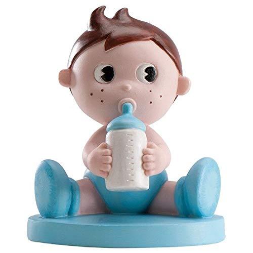 MIRVEN Figura para Pastel de Bautizo Bebe Biberon Niño Color Azul
