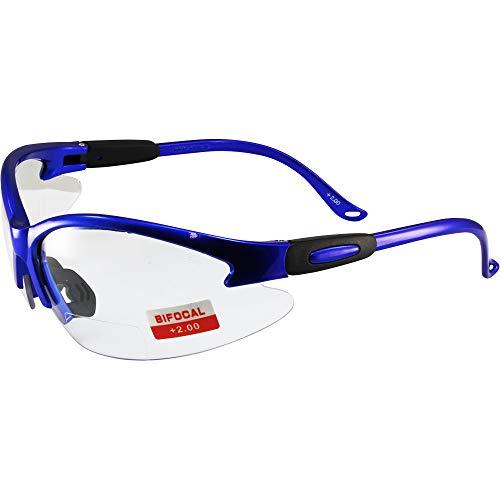 Global Vision Cougar Bifocal Lab Safety Glasses Blue Frame Clear 2.0X Magnification Lens ANSI Z87.1 (+2.0 Bifocal)