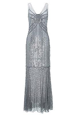 Metme Women's Roaring 1920s Gatsby Sleeveless Sequined Beaded Long Flapper Dress for Prom