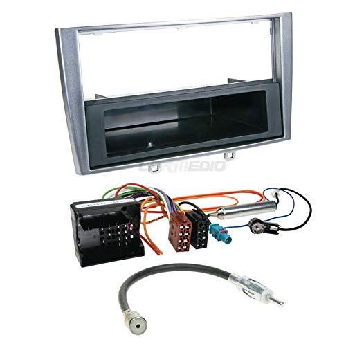 Peugeot 30807–14de 1DIN para Radio de Coche Set en Original Plug & Play Calidad con Antena Adaptador, Radio Cable de conexión, Accesorios y Radio/Marco de Montaje Plata