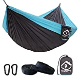 Camping Hammock Double with 2 Tree Straps Made of Portable Lightweight Nylon Parachute for Backpacking,Travel,Beach,Yard and Outdoor Survival (Grey-Blue)