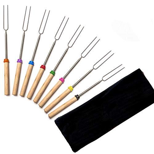 Unila 焼き串 BBQフォーク シュラスコ用 折りたたみ 携帯便利 5段伸縮 長さ調節可能 収納しやすい ステンレス製 木柄 バーベキュー道具 収納バッグ付き バーベキュー 串 バーベキュー用 スキュアー 8本組