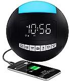 Digital Alarm Clock Radio, Portable FM Radio Loud LED Clock with 7 Colored