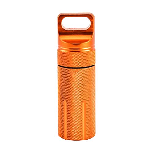 LIOOBO Pastillero Llavero Caja de píldoras de Aluminio a Prueba de Agua Titular de Pastillas Botella Fob Naranja