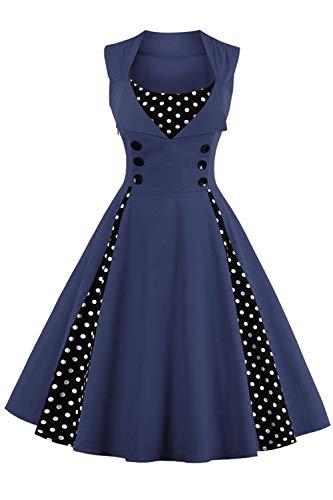 Axoe Vestido de los años 50 para mujer con lunares. azul marino XXL