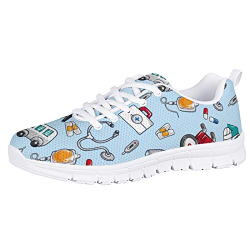 HUGS IDEA Moda Pisos De Espuma Livianos Zapatos Deportivos para Correr Enfermera Dibujos Animados Lindo Fitness Zapatos para Correr Gimnasio Fitness Zapatos Deportivos Azul Cielo EU 39