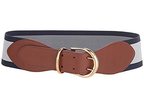 Ralph Lauren Women'sCornwall Stretch Belt (Tan/Navy/White, L)
