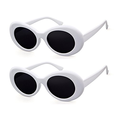 Clout Goggles Retro Vintage Oval Kurt Cobain Inspired Sunglasses Thick Frame Round Lens Glasses (2 packs White, 51)