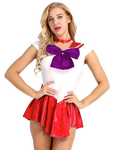 TiaoBug Sailor Moo Manga Crystal Cosplay Kostüm Sailor Venus Kostüm Schulmädchen-Matrose Uniform Anime Matrosen Kostüm Verkleidung Matrosenkleid Rot XXL
