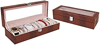 New Home Storage Watch Box 6 Slots Crocodile Skin Texture Display Glass Top Jewelry Case Organizer Box(Black) Used for Home (Color : Coffee)