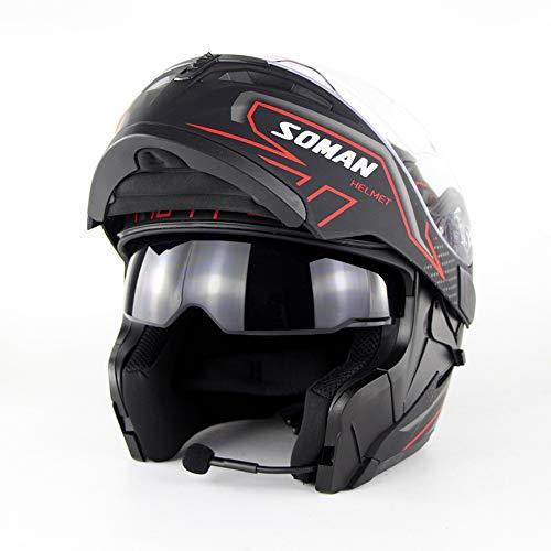 Wansheng Motorrad-Bluetooth-Helm D. O. T-Zertifizierung-Full Face Bluetooth Racing Motorradhelm Cromwell Helm Mit Bluetooth-Headset (S, M, L, XL) Schwarz-Rot,M(57~58Cm)
