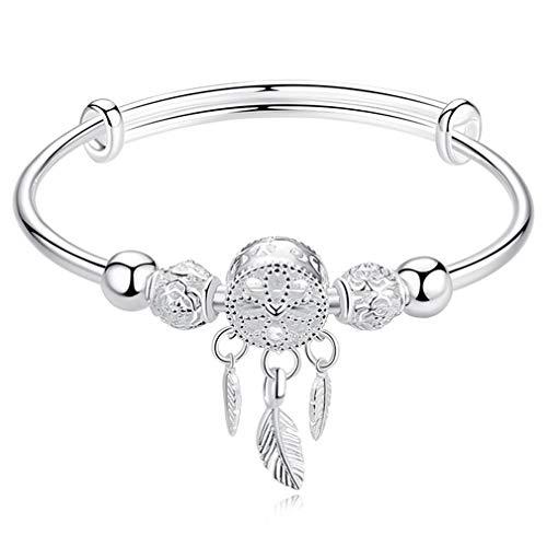 SeniorMar-UK Pulsera de Cuentas Redondas con borlas de Plata Ajustable, Brazalete para Mujer, joyería Elegante, Regalo de San Valentín, Plata