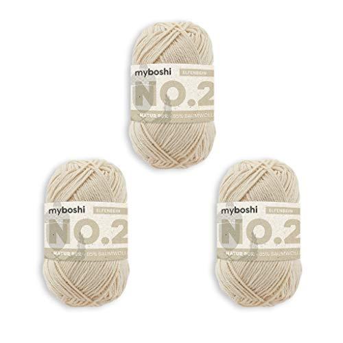 myboshi Häkel- und Strick-Garn | Modell: No.2 mit Kapok-Faser | leichtes Garn | 3er Pack-Knäuel | 2920 Elfenbein