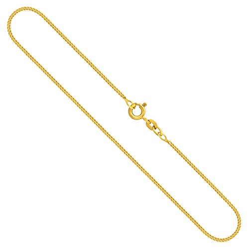 Gouden ketting heren echt goud 1,4 mm, pantserketting vlak 333, 375, 585, 750 geelgoud, ketting goud met stempel, halsketting met veerring of karabijnsluiting, Made in Germany