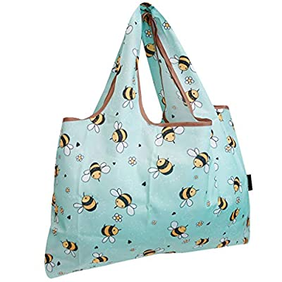 allydrew Large Foldable Tote Nylon Reusable Grocery Bag, Bumble Bees