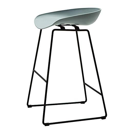 JIEER-C Bedrooms Bar Kruk, Moderne barstoel PP plastic stoel Bar restaurant Keukenstoel Effen metalen poten Draaggewicht 200kg Zithoogte 65/75cm (kleur : Wit, Maat : 75cm) 65CM Blue-gray