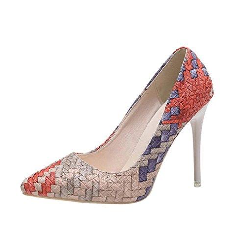 Liquidación! Tacones de mujer Covermason Moda tacones finos Zapatos colores mezclados Tacones bajos Zapatos(37 EU, rojo)